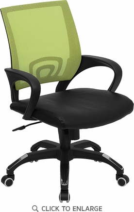 Mid-Back Green Mesh Office Chair with Black Leather Seat [CP-B176A01-GREEN-GG]