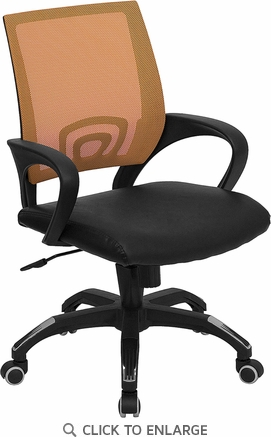 Mid-Back Orange Mesh Office Chair with Black Leather Seat [CP-B176A01-ORANGE-GG]
