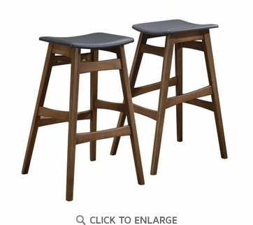 Mid-Century Modern Angled Walnut Finish Bar Stool by Coaster 101437 - Set of 2
