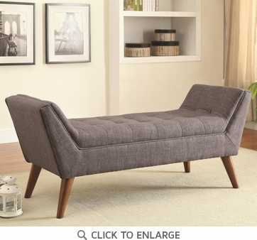 Mid-Century Modern Gray Upholstered Accent Bench by Coaster 500008