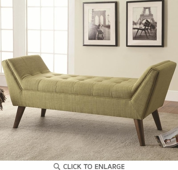 Mid-Century Modern Green Upholstered Accent Bench by Coaster 500006