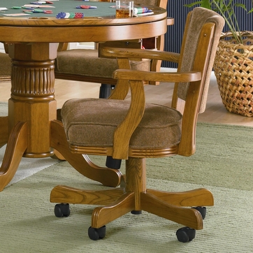 Mitchell Oak Finish Upholstered Game Arm Chair with Casters by Coaster 100952