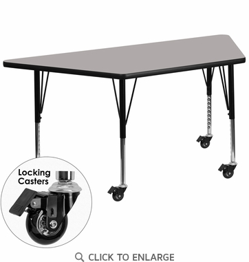 Mobile 24''W x 48''L Trapezoid Activity Table with 1.25'' Thick High Pressure Grey Laminate Top and Height Adjustable Preschool Legs