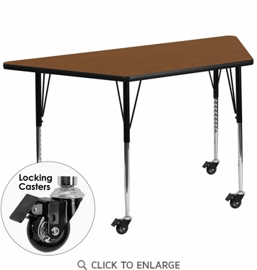 Mobile 24''W x 48''L Trapezoid Activity Table with 1.25'' Thick High Pressure Oak Laminate Top and Standard Height Adjustable Legs