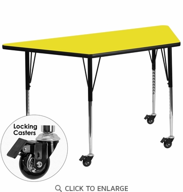 Mobile 24''W x 48''L Trapezoid Activity Table with 1.25'' Thick High Pressure Yellow Laminate Top and Standard Height Adjustable Legs