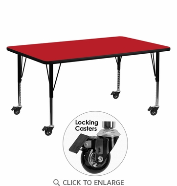 Mobile 24''W x 60''L Rectangular Activity Table with 1.25'' Thick High Pressure Red Laminate Top and Height Adjustable Preschool Legs
