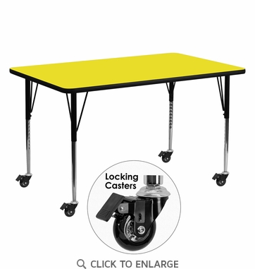 Mobile 24''W x 60''L Rectangular Activity Table with 1.25'' Thick High Pressure Yellow Laminate Top and Standard Height Adjustable Legs