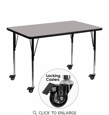 Mobile 30''W x 48''L Rectangular Activity Table with 1.25'' Thick High Pressure Grey Laminate Top and Standard Height Adjustable Legs