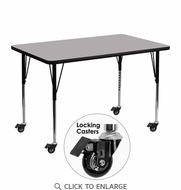 Mobile 30''W x 48''L Rectangular Activity Table with Grey Thermal Fused Laminate Top and Standard Height Adjustable Legs
