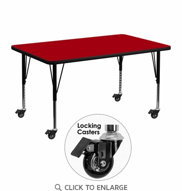 Mobile 30''W x 48''L Rectangular Activity Table with Red Thermal Fused Laminate Top and Height Adjustable Preschool Legs