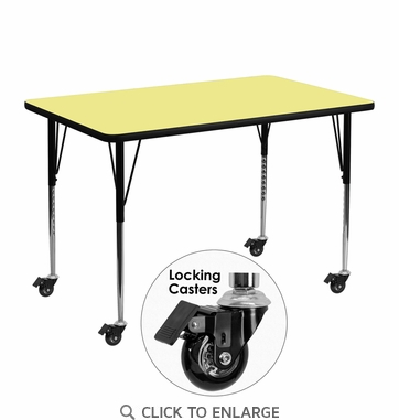 Mobile 30''W x 48''L Rectangular Activity Table with Yellow Thermal Fused Laminate Top and Standard Height Adjustable Legs