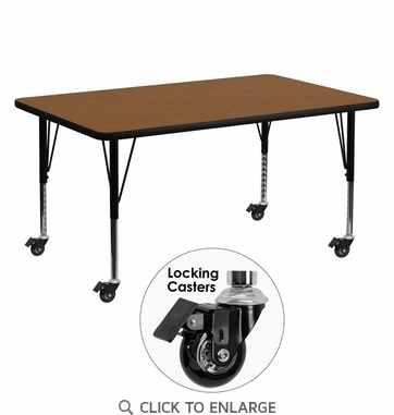 Mobile 30''W x 60''L Rectangular Activity Table with 1.25'' Thick High Pressure Oak Laminate Top and Height Adjustable Preschool Legs