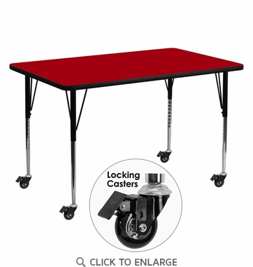 Mobile 30''W x 60''L Rectangular Activity Table with Red Thermal Fused Laminate Top and Standard Height Adjustable Legs