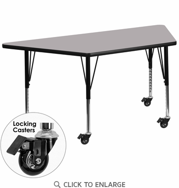 Mobile 30''W x 60''L Trapezoid Activity Table with Grey Thermal Fused Laminate Top and Height Adjustable Preschool Legs