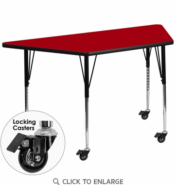 Mobile 30''W x 60''L Trapezoid Activity Table with Red Thermal Fused Laminate Top and Standard Height Adjustable Legs