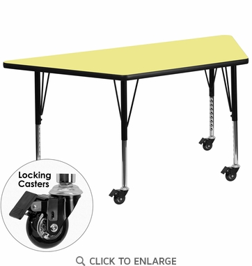 Mobile 30''W x 60''L Trapezoid Activity Table with Yellow Thermal Fused Laminate Top and Height Adjustable Preschool Legs