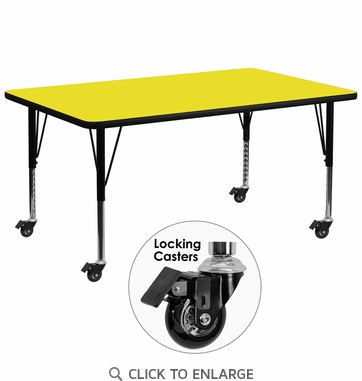 Mobile 30''W x 72''L Rectangular Activity Table with 1.25'' Thick High Pressure Yellow Laminate Top and Height Adjustable Preschool Legs