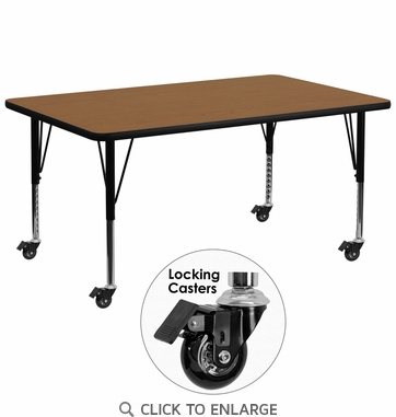 Mobile 30''W x 72''L Rectangular Activity Table with Oak Thermal Fused Laminate Top and Height Adjustable Preschool Legs