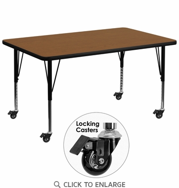 Mobile 36''W x 72''L Rectangular Activity Table with 1.25'' Thick High Pressure Oak Laminate Top and Height Adjustable Preschool Legs