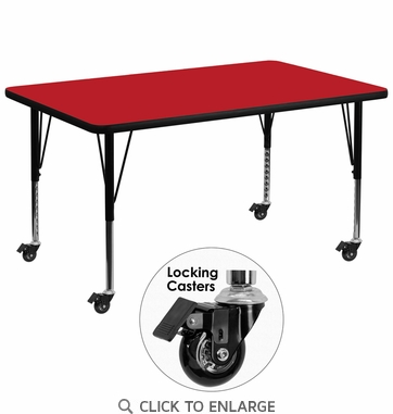 Mobile 36''W x 72''L Rectangular Activity Table with 1.25'' Thick High Pressure Red Laminate Top and Height Adjustable Preschool Legs