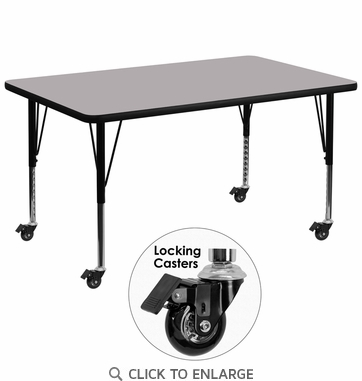 Mobile 36''W x 72''L Rectangular Activity Table with Grey Thermal Fused Laminate Top and Height Adjustable Preschool Legs