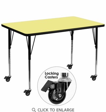 Mobile 36''W x 72''L Rectangular Activity Table with Yellow Thermal Fused Laminate Top and Standard Height Adjustable Legs