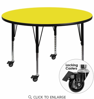 Mobile 42'' Round Activity Table with 1.25'' Thick High Pressure Yellow Laminate Top and Height Adjustable Preschool Legs