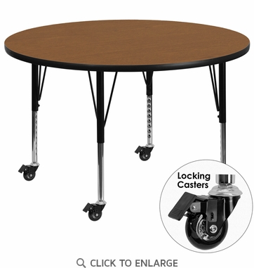 Mobile 48'' Round Activity Table with Oak Thermal Fused Laminate Top and Height Adjustable Preschool Legs