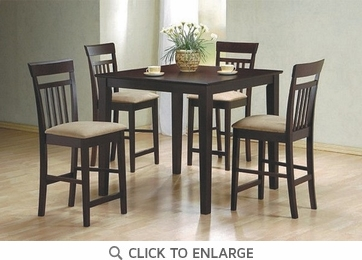 Moreland 5 Piece Cappuccino Pub Counter Dining Set by Coaster - 150041