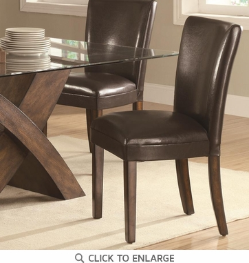 Nessa Upholstered Brown Parsons Dining Chairs 103053 - Set of 2