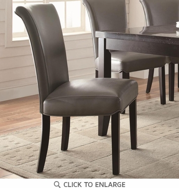Newbridge Metal Gray Tone Vinyl Dining Chairs 102882 - Set of 2