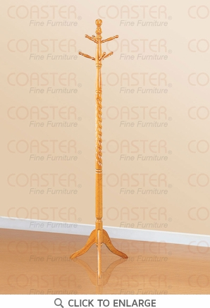 Oak Finish Coat Rack Hall Tree with Twist by Coaster - 4060