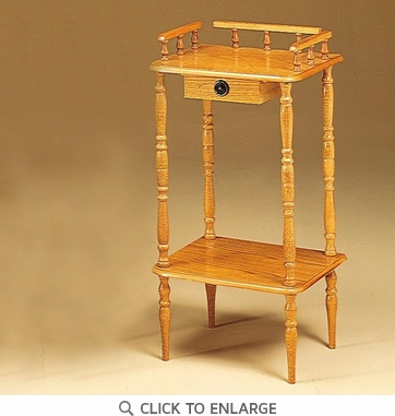 Oak Finish Phone Stand Accent Table with Drawer by Coaster - 4309