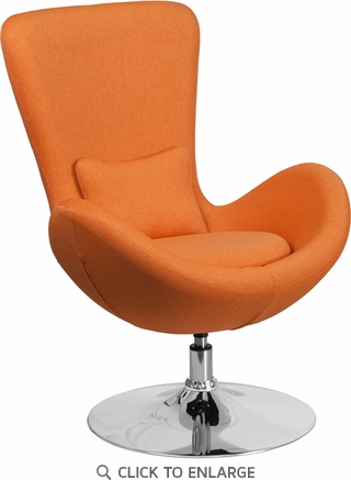 Orange Fabric Egg Series Reception-Lounge-Side Chair [CH-162430-OR-FAB-GG]