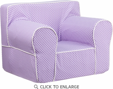 Oversized Lavender Dot Kids Chair with White Piping [DG-LGE-CH-KID-DOT-PUR-GG]