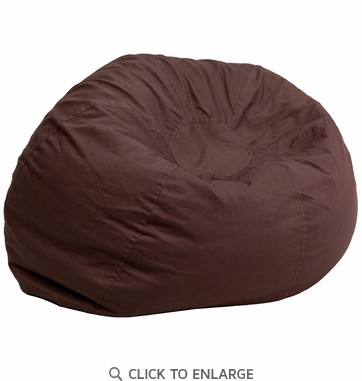 Oversized Solid Brown Bean Bag Chair [DG-BEAN-LARGE-SOLID-BRN-GG]
