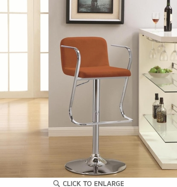 Persimmon Color Fabric Adjustable Bar Stool Chair by Coaster 121092