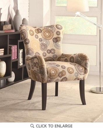 Plush Pattern Accent Chair with Beige Circles and Nailhead by Coaster 902052