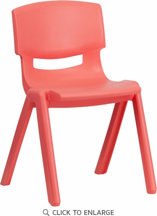 Red Plastic Stackable School Chair with 13.25'' Seat Height [YU-YCX-004-RED-GG]