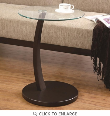 Round Accent Table with Glass Top and Cappuccino Base by Coaster 900256