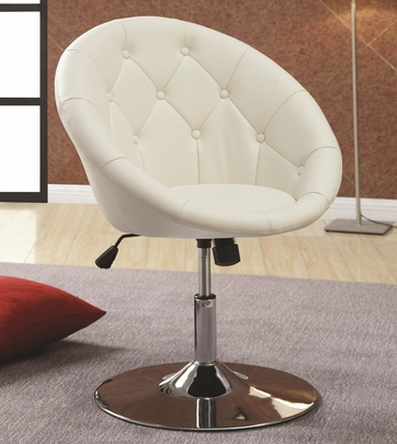 Round White Adjustable Swivel Chair by Coaster 102583