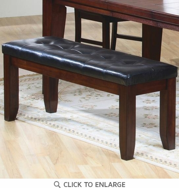 Rustic Oak Finish Bench with Black Upholstered Cushion Seat  by Coaster 101883