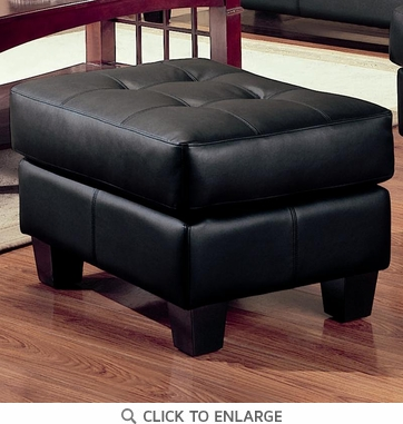 Samuel Black Bonded Leather Ottoman by Coaster - 501684