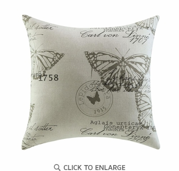 Script Linen Butterfly Pattern Accent Pillow by Coaster 905004 - Set of Two