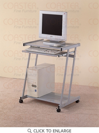 Silver Metal and Glass Mobile Computer Desk Cart by Coaster - 7173