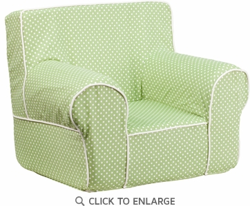 Small Green Dot Kids Chair with White Piping [DG-CH-KID-DOT-GRN-GG]