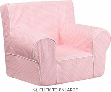 Small Light Pink Dot Kids Chair with White Piping [DG-CH-KID-DOT-PK-GG]