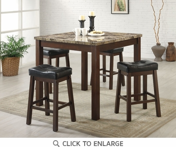 Sofie 5 Piece Brown Cherry Counter Height Pub Dining Set by Coaster - 150302