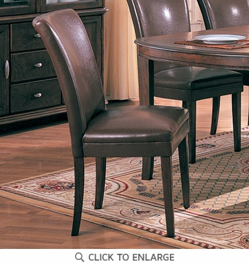 Soho Brown Vinyl Parson Dining Side Chair by Coaster 4077BRN - Set of 2