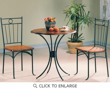 Tamiami 3 Piece Metal Bistro Dining Table and Chair Set by Coaster - 5939